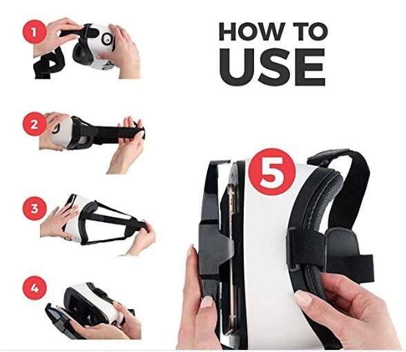 Virtual Reality Goggles by VR WEAR 3D VR Glasses for iPhone 6//7//8//Plus//X /& S6//S7//S8//S9//Plus//Note and Other Android Smartphones with 4.5-6.5 Screens 2 Stickers VR Headset